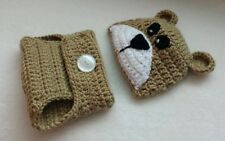 Newborn Baby Tan Bear Hat and Diaper Cover Crochet Photo Prop Outfits Clothes