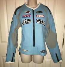 Women's Leather ICON Bomber Motorcycle Jacket L Dunlop motul vortex turquoise