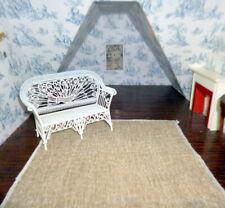 "Designer Fabric 1:12 DOLLHOUSE RUG BROWN Cream Textured 9"" x 9"""