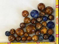 Collection Of 30 Bennington Clay Marbles - Different Sizes & Colors