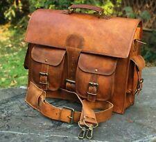 """Men's 15"""" Real Vintage Leather Messenger Shoulder Laptop Bag Handbag Briefcase"""