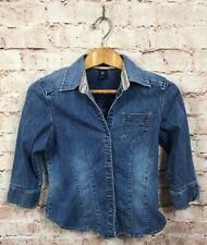 GAP Denim Blue Jean Blouse Size Small 3/4 Sleeve
