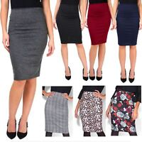 Womens Ladies Pencil Midi Skirt Stretch Fitted Belt Bodycon Office Work 8-20