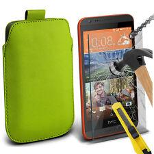 verde similpelle custodia pochette linguetta & VETRO PER HTC desiderio 620