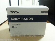 F/S NEW SIGMA lens Art 60mm F2.8 DN black for Sony E mount from JAPAN