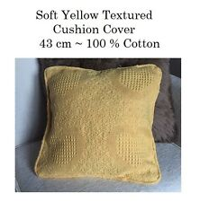 2 X SOFT YELLOW SQUARE TEXTURED WEAVE CUSHION COVER 100% COTTON,43 CM,FREE POST