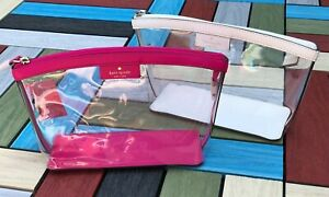 Kate Spade SABINE Clear Medium Cosmetic Bag Pouch Case Many colors available