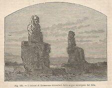 A2482 I colossi di Memmone circondati dal Nilo - Xilografia del 1895 - Engraving