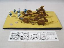 Kunstharzfiguren Ensemble Katapult mit 9 Schlümpfen Fariboles resin smurf puffi