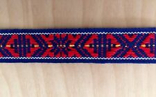 Scandinavian Folk Art Ribbon Hand Woven Red Blue Per Yard
