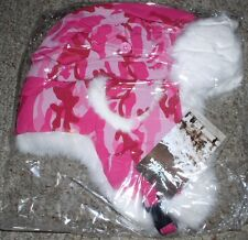 YUKON TRACKS HAT PINK CAMO TASLAN ALASKA SOFT WHITE RABBIT FUR BOMBER XL ADULT
