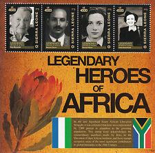 SIERRA LEONE 2011 Gomma integra, non linguellato leggendari EROI AFRICA 4v M/S Baruch hirson Kitson FRANCOBOLLI