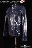 'LONE STAR' Men's Glazed Blue Safari Western Cowboy Biker Leather Shirt Jacket