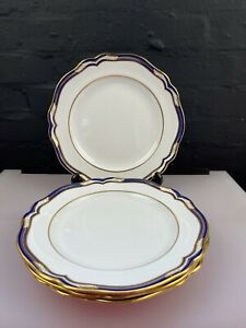 "4 x Spode Chancellor Cobalt Blue Dinner Plates 11"" Wide 3 Sets Available RARE"