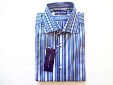 New Ralph Lauren Purple Label Italy Blue Striped 100% Cotton Dress Shirt size 15