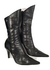 RMK Black Ankle High Leather Boots 8 39