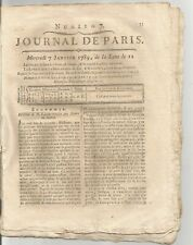 journal  de Paris no 7 du mercredi 7 janvier 1789  4 pages authentique