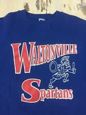 WALTONVILLE SPARTANS - Vtg 90s Blue Russell Athletic High School Sweatshirt, XL