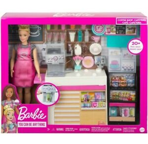 Barbie Coffee Shop Barista Cafe Playset With Doll Accessories 30cm Figure Girls