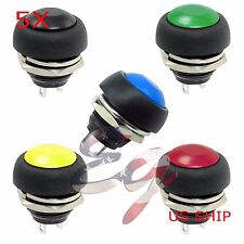 5X Color M4 12mm Waterproof Momentary ON/OFF Push Button Round SPST Switch