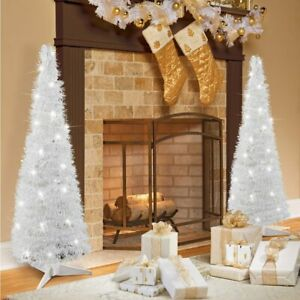 4 Foot Tall Lighted White Pop Up Christmas Tree with Timer