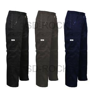 Mens 7Pocket Elasticated Heavy Duty Cargo Combat Cotton Trousers Pants Bottom