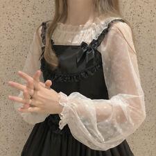 Women Fairy Kawaii Japanese Style Ruffle Hem Lace Shirt Lolita Tops Summer Sweet