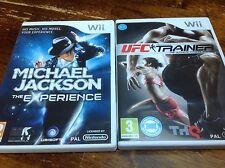 Nintendo Wii Dance Fitness Bundle x2 UFC Trainer Michael Jackson Experience VGC