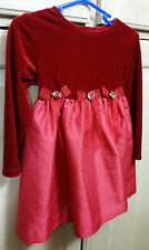 Girls Size 24 month/2T Ashley Ann Red Stretch Velvet Christmas/Holiday Dress