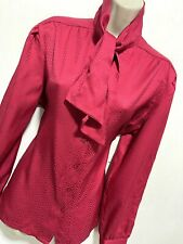 Alfred Dunner USA Rosso Pussy Bow Camicia Blusa 12