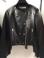 BNWT ZARA Double Breasted PU Faux Leather Tailored Biker Jacket Black Size L XL