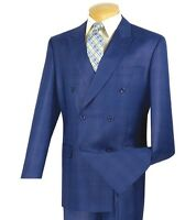 Men's Blue Glen Plaid Double Breasted 6 Button Classic Fit Suit NEW