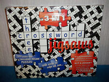 3 IN 1 THREE CROSSWORD JIGSAW PUZZLES - DOUBLE SIDED, CLUE SHEETS, PEN - SEALED