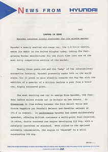 HYUNDAI LANTRA  UK LAUNCH ORIGINAL PRESS RELEASE. 1992 **POST FREE UK**