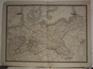 POLAND LITHUANIA & PRUSSIA GERMANY 1836 BRUÉ ANTIQUE COLORED LITHOGRAPHIC MAP
