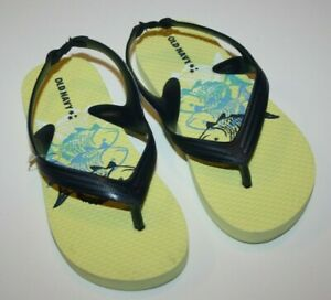 Old Navy Kids Yellow Fish Flip Flops Sandals Thongs Little Boys Girls New 10