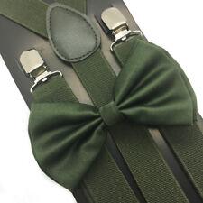 Pine Green Suspender and BowTie Set Wedding Formal Tuxedo Adults Men Women (USA)