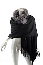 "SURELL Black Lamb Wool Shawl Wrap Removable Fox Fur Trim  71"" x  28.5"" Very Soft"