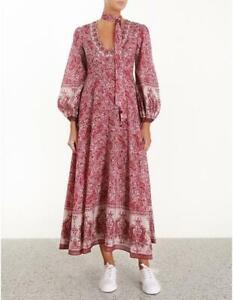 Stunning Zimmermann Amari Paisley Long Plunge Dress Pink Size 3