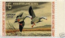 RW39 Single Emperor Geese $5.00 Yr 1972 Hunting MNH Multi-Color NO Cancel