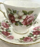 Vintage Queen Anne Bone China Tea Cup and Saucer White & Pink Pattend #8644