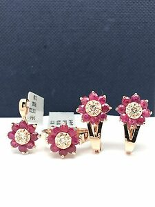 14k rose gold natural rubies and diamonds flower ring earrings and pendant set