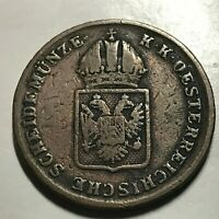 AUSTRIA 1816-A ONE KREUZER OLD COPPER COIN