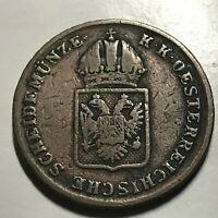 AUSTRIA 1816-A ONE KREUZER OLD COPPER COIN