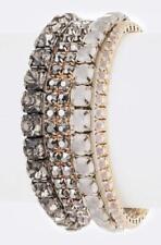 Black diamond mix rhinestone stretch bracelet