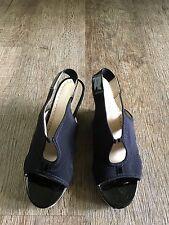 Adrienne Vittadini Claudia Wedge Sandals 7 Round Toe Shoes Black Cork Patent