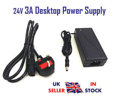 24v 3a AC DC Desktop Alimentatore PSU Adattatore caricatore UK PLUG TRASFORMATORE 3 Amp