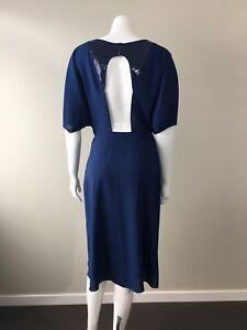 Stefanel Italy Occasion Dress Elastic Waist Cutout Back Size 42 AU 10-12 Blue