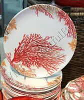 Pottery Barn Set 4 Under The Sea Dinner Plates Red Coral 11D Round NIB