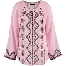 New ANTIK BATIK Designer Tolata Cotton Pink Embroidered Blouse Top Tunic UK 8
